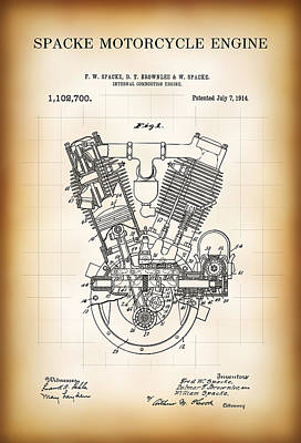 Spacke Motorcycle Engine Patent 1914 Poster by Daniel Hagerman