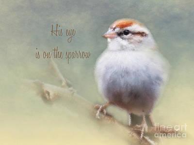 Serendipitous Sparrow - Phrase Poster by Anita Faye