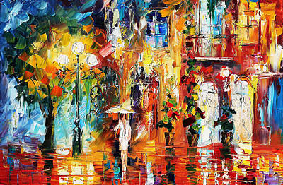 Special Rain - Palette Knife Oil Painting On Canvas By Leonid Afremov Poster by Leonid Afremov