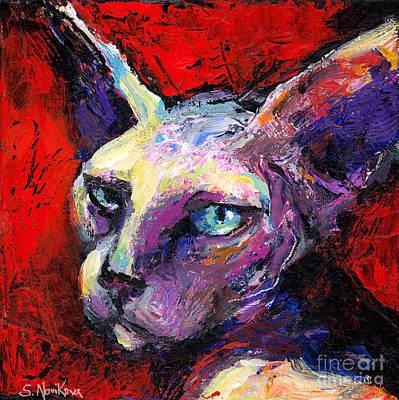 Sphynx Sphinx Cat Painting  Poster by Svetlana Novikova