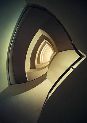 Spiral Staircase In Brown And Cream Colors Poster by Jaroslaw Blaminsky