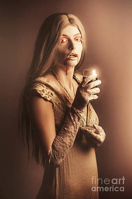 Spooky Vampire Girl Drinking A Glass Of Red Wine Poster by Jorgo Photography - Wall Art Gallery