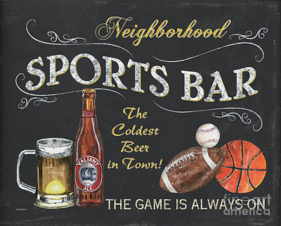 Sports Bar Poster by Debbie DeWitt