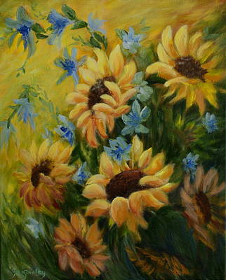 Sunflowers Galore Poster by Joanne Smoley
