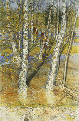 Spring Flood Poster by Carl Larsson