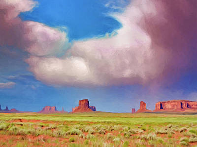 Spring Rain Over Monument Valley Poster by Dominic Piperata