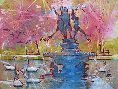 Spring Swans On Italian Lake Poster by Larry Lerew