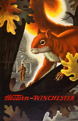 Squirrel Hunting Poster by Weimer Pursell