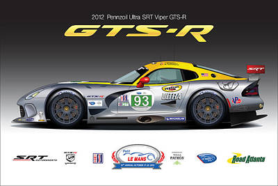 Srt Viper Gts-r No. 93 Poster by Steven Dahlen