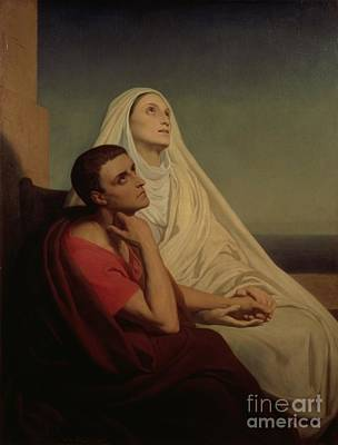 St Augustine And His Mother St Monica Poster by Ary Scheffer