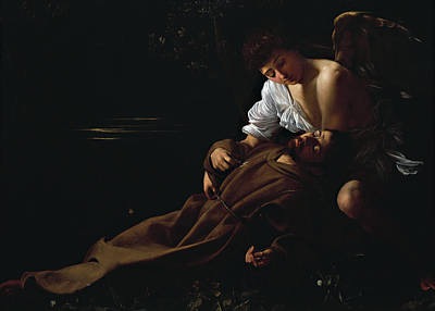 St Francis Being Comforted By An Angel After Receiving Stigmata Poster by Caravaggio