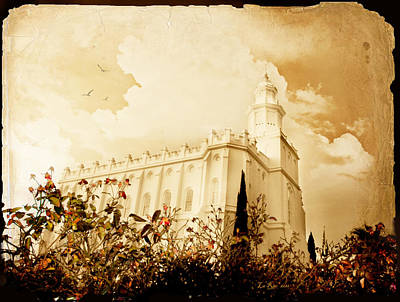 St George Temple Roses Poster by La Rae  Roberts