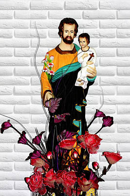 St Joseph Holding Baby Jesus - Catholic Church Qibao China Poster by Christine Till