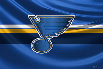 St. Louis Blues - 3 D Badge Over Silk Flag Poster by Serge Averbukh
