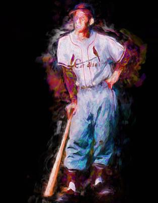 St. Louis Cardinal Stan Musial Portrait Busch Stadium Poster by David Haskett