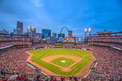 St. Louis Cardinals Busch Stadium Creative Blue Poster by David Haskett