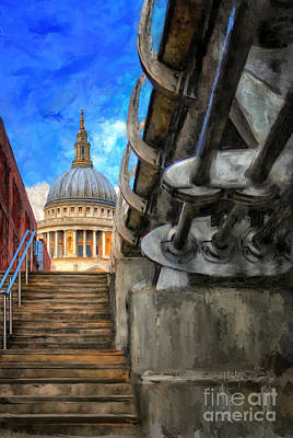 St. Paul's Cathedral And The Millennium Bridge Poster by Lois Bryan
