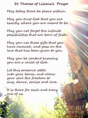 St Therese Of Lisieux Prayer And True Light Lower Emerald Pools Zion Poster by Heather Kirk