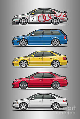 Stack Of Audi A4 B5 Type 8d Poster by Monkey Crisis On Mars