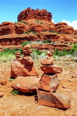 Stacked Rocks At Bell Rock In Sedona Poster by Susan Schmitz