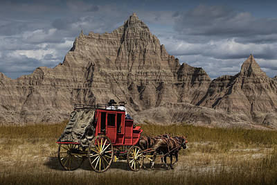 Stage Coach In The Badlands Poster by Randall Nyhof
