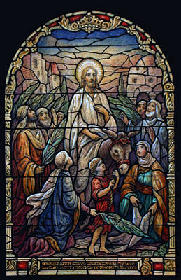 Stained Glass - Palm Sunday Poster by Munir Alawi