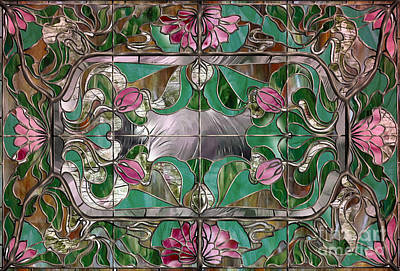 Stained Glass Art Nouveau Window Poster by Mindy Sommers