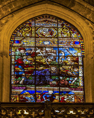 Stained Glass - Cathedral Of Seville - Seville Spain Poster by Jon Berghoff
