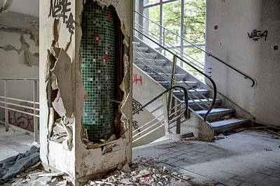Stair Case Ruin Urban Exploration Home Sweet Home  Poster by Dirk Ercken