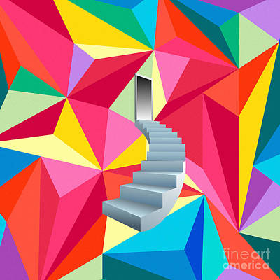Stairs To Heaven Of Colors Poster by Celestial Images