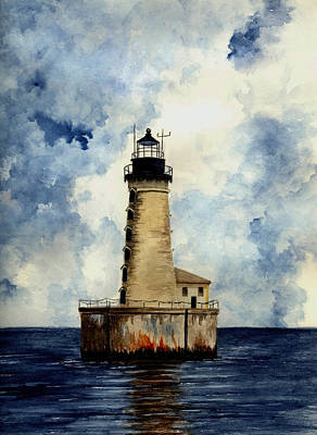 Stannard Rock Lighthouse Poster by Michael Vigliotti