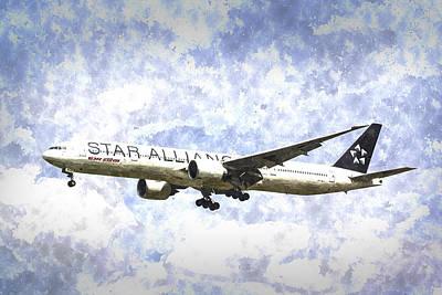 Star Alliance Boeing 777 Art Poster by David Pyatt
