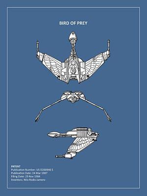 Star Trek - Bird Of Prey Patent Poster by Mark Rogan