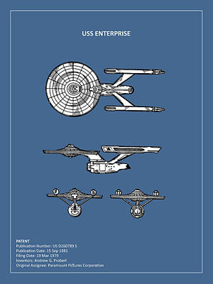 Star Trek - Uss Enterprise Patent Poster by Mark Rogan