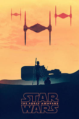 Star Wars The Force Awakens - Rey Poster by Farhad Tamim