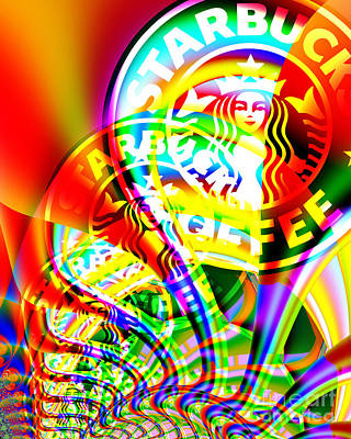 Starbucks Coffee In Abstract Poster by Wingsdomain Art and Photography