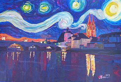 Starry Night In Regensburg  Van Gogh Inspirations On River Danube Poster by M Bleichner