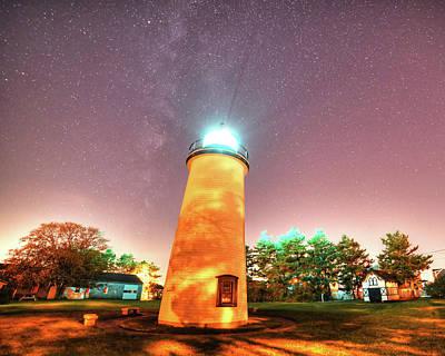 Starry Sky Over The Newburyport Harbor Light Poster by Toby McGuire
