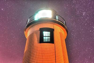 Starry Sky Over The Newburyport Harbor Light Window 2 Poster by Toby McGuire