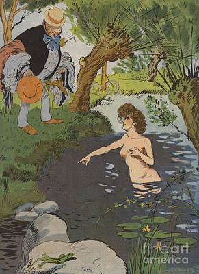 Startled Bather Poster by Leonce Burret