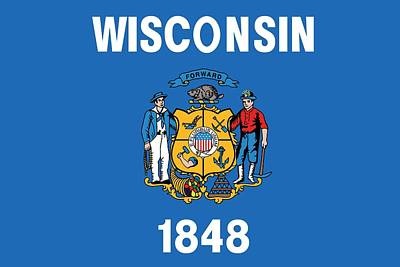 State Flag Of Wisconsin Poster by American School