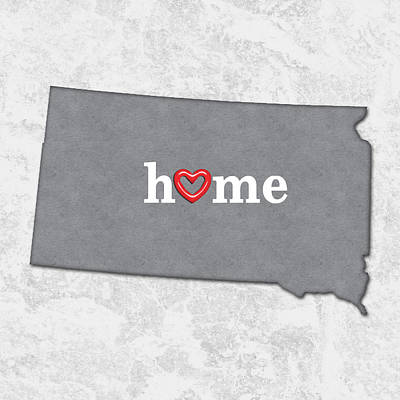State Map Outline South Dakota With Heart In Home Poster by Elaine Plesser