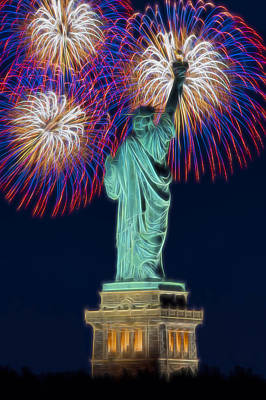 Statue Of Liberty Fireworks Poster by Susan Candelario