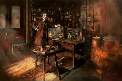 Steampunk - The Time Traveler 1920 Poster by Mike Savad