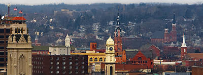 Steeples Of Dubuque Poster by Jane Melgaard