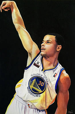 Stephen Curry Gold State Warriors Poster by Michael  Pattison