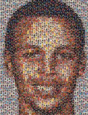 Stephen Curry Michael Jordan Card Mosaic Poster by Paul Van Scott