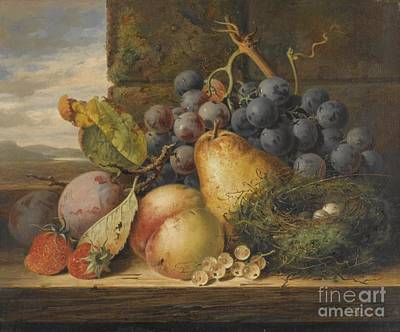 Still Life With A Bird's Nest, A Pear, A Peach, Grapes, Strawberries And Plums Poster by Celestial Images