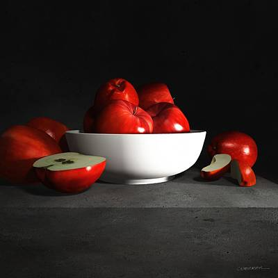 Still Life With Apples Poster by Cynthia Decker