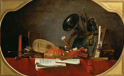 Still-life With Attributes Of Music Poster by Celestial Images